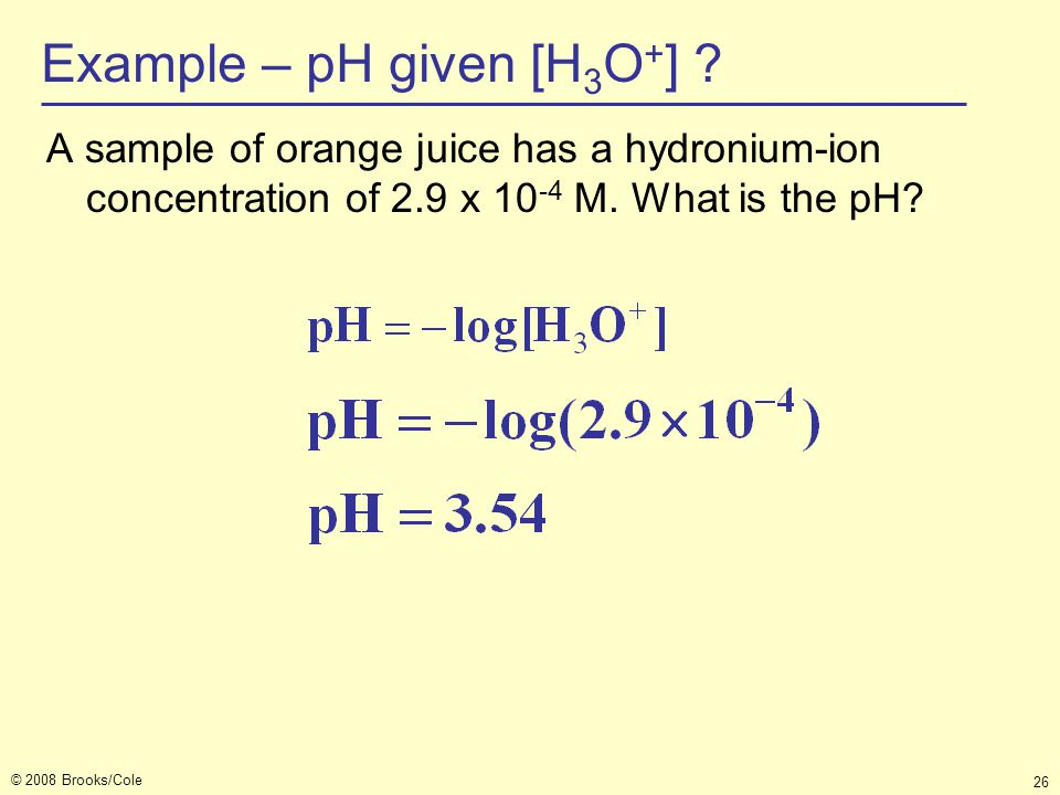 Example – pH given [H3O+]